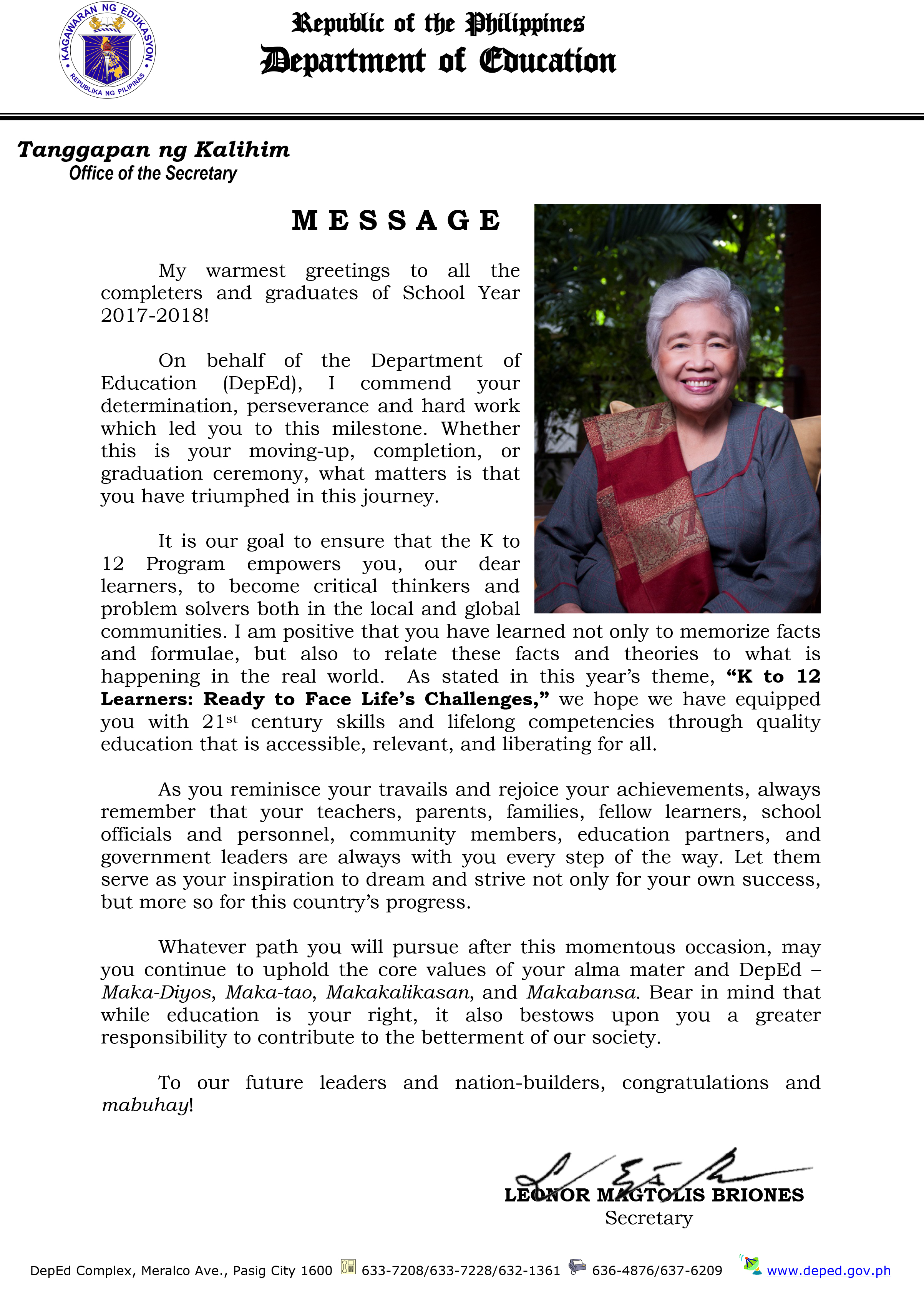 2018 graduation message of secretary leonor magtolis briones m4hsunfo